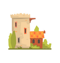 Old house and stone fortress tower ancient vector