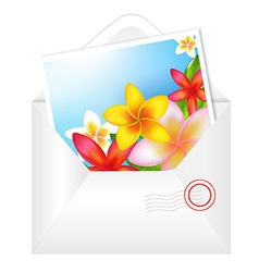 Open envelope with flowers card vector