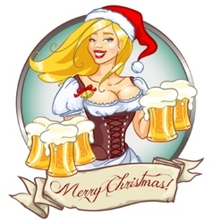 Pretty girl with beer christmas label vector