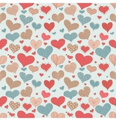Seamless Pattern Romantic Love Hearts Retro Sketch vector image vector image