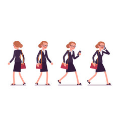 Set of businesswoman in walking poses rear and vector