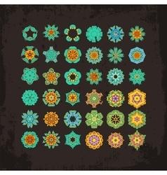 Set of ornate mandala symbols mehndi lace vector