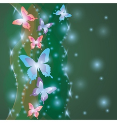 Shining colorful background with butterflies vector image vector image