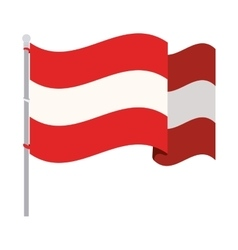 Silhouette color with waving flag of austria vector