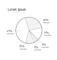 the line pie chart vector image vector image