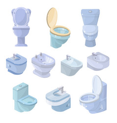 Toilet bowl and seat toiletries flush and vector