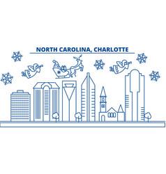 Usa north carolina charlotte winter city vector