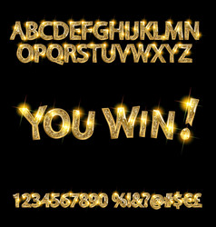 You win gold alphabets and numbers vector