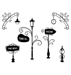 Cartoon street lamps and signboards vector image