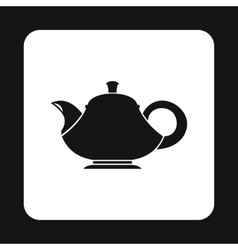 Black teapot icon simple style vector