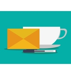 Envelope pen and mug design vector
