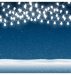 Snow falling on blue background garlands vector