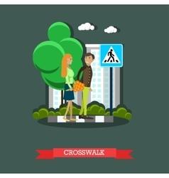 Crosswalk concept  flat design vector