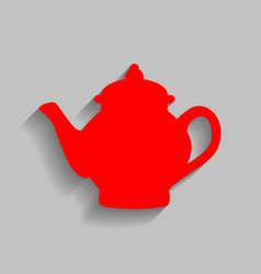 Tea maker sign  red icon with soft shadow vector