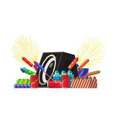 fireworks party salute elements fireworks set vector image