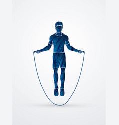 sport man jumping rope graphic vector image