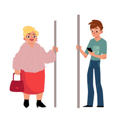 Subway passengers - plump woman housewife and vector