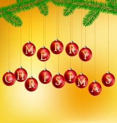 Christmas balls with pine branch vector image