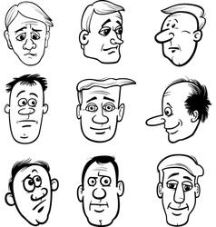 Cartoon men characters heads set vector