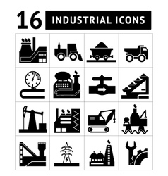 Industrial black icons set vector