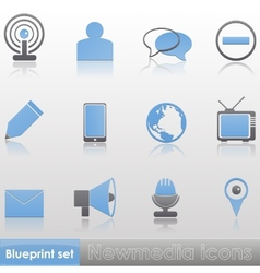 Simple blue-grey new media icon set vector