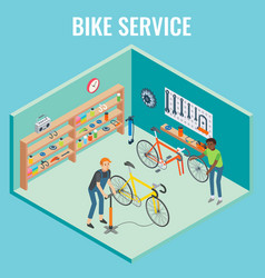 3d isometric bike service concept vector image vector image
