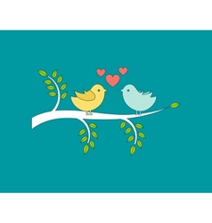 Lovers and happy birds on tree with hearts vector