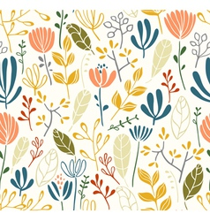 Leaves and flowers seamless pattern vector