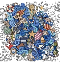 Cartoon hand-drawn doodles nautical marine vector