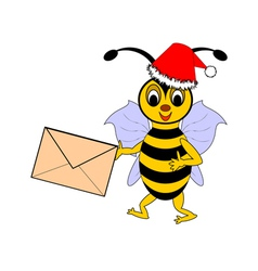 A funny christmas cartoon bee with a letter vector
