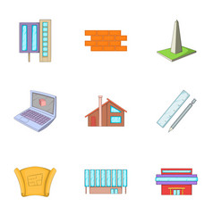 building plan icons set cartoon style vector image