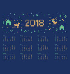 calendar 2018 with cross stitch dog pixel art vector image vector image