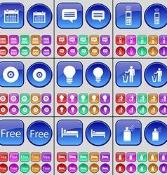 Calendar chat bubble mobile phone disk light bulb vector