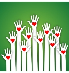 Caring up hands hearts Volunteers l vector image