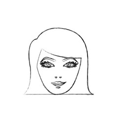 contour face formal woman icon vector image