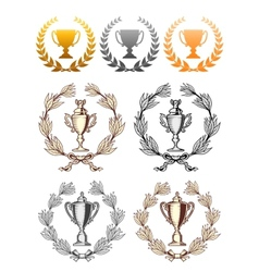 Cup trophies with laurel wreath vector image