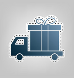 Delivery gift sign blue icon with outline vector