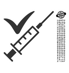 Done vaccination icon with work bonus vector
