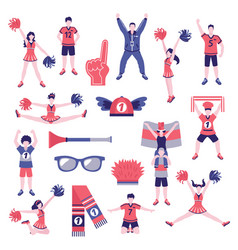 fans supporters flat icons collection vector image vector image