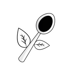 Figure spoon kitchen tool with leaves vector