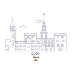 Gijon city skyline vector
