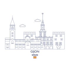 gijon city skyline vector image