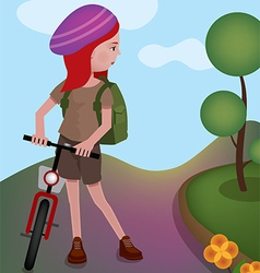 Girl is standing with her bike vector