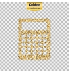 Gold glitter icon of calculator isolated on vector image vector image