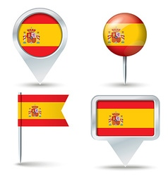 Map pins with flag of Spain vector image vector image