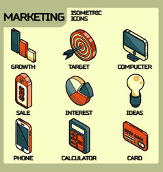 marketing color outline isometric icons vector image vector image