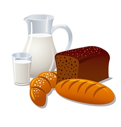 milk and bread vector image vector image