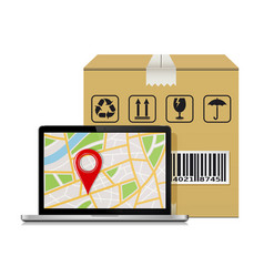 Parcel box and laptop with gps map mock-up for vector