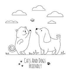Pets friends Dog and cat playing together doodle vector image vector image