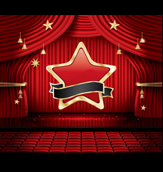 red stage curtain with star seats and copy space vector image vector image